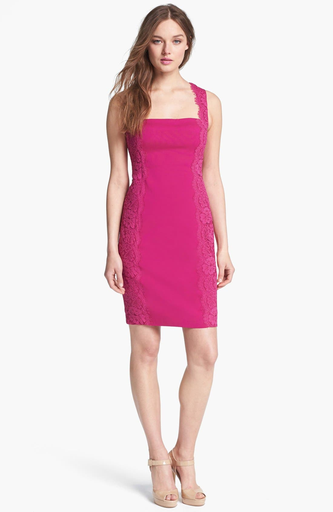 Alternate Image 1 Selected - Aidan Mattox Lace Paneled Sheath Dress