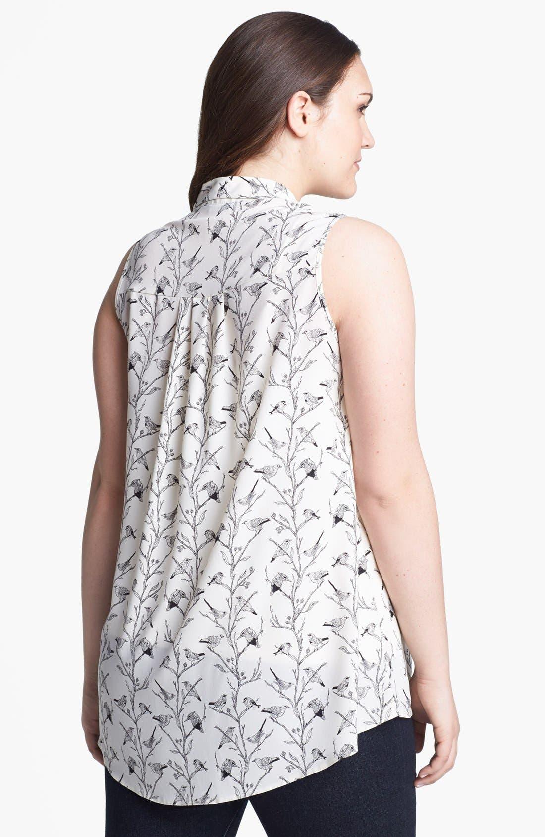 Alternate Image 2  - Evans Print Sleeveless Blouse (Plus Size)