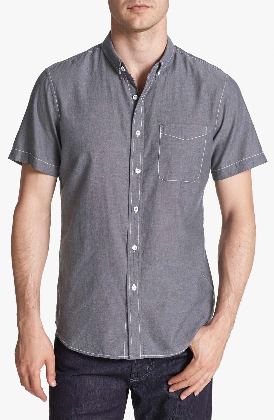 Alternate Image 1 Selected - AG Short Sleeve Chambray Sport Shirt