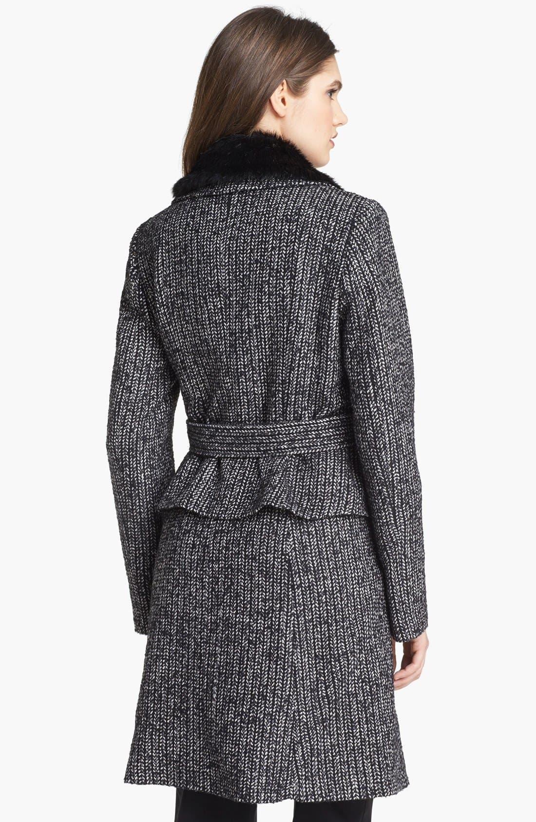 Alternate Image 2  - Ivanka Trump Belted Tweed Coat with Detachable Faux Fur Collar