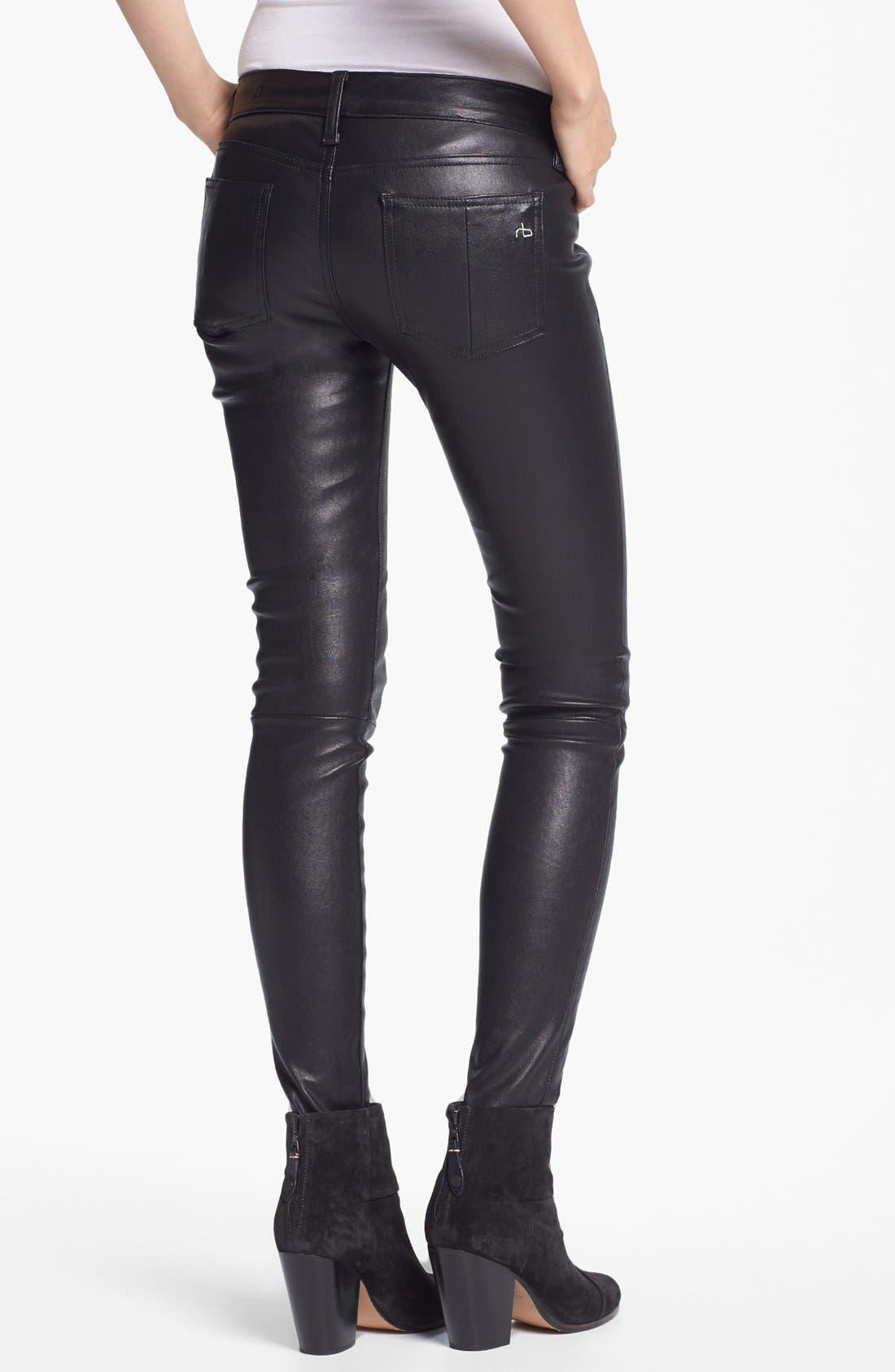 Alternate Image 2  - rag & bone 'The Leather Skinny' Pants