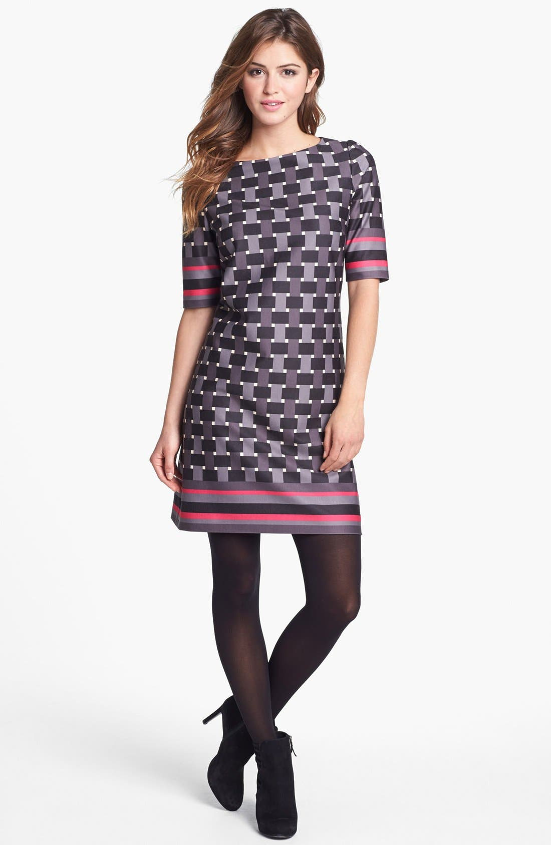 Alternate Image 4  - Eliza J Elbow Sleeve Geo Print Ponte Shift Dress