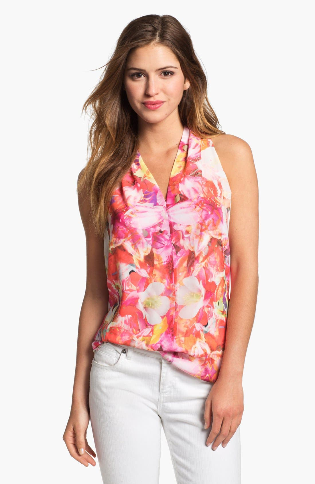Alternate Image 1 Selected - Vince Camuto 'Corsage Floral' Sleeveless Blouse (Petite)
