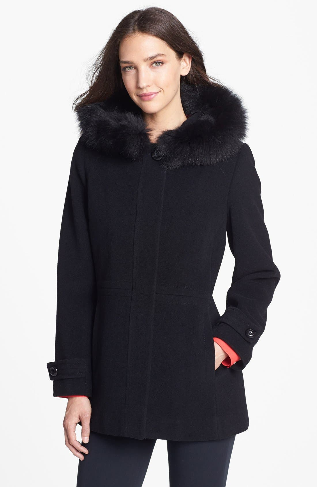 Alternate Image 1 Selected - Sachi Genuine Fox Fur Trim Hooded Coat (Regular & Petite)(Nordstrom Exclusive)