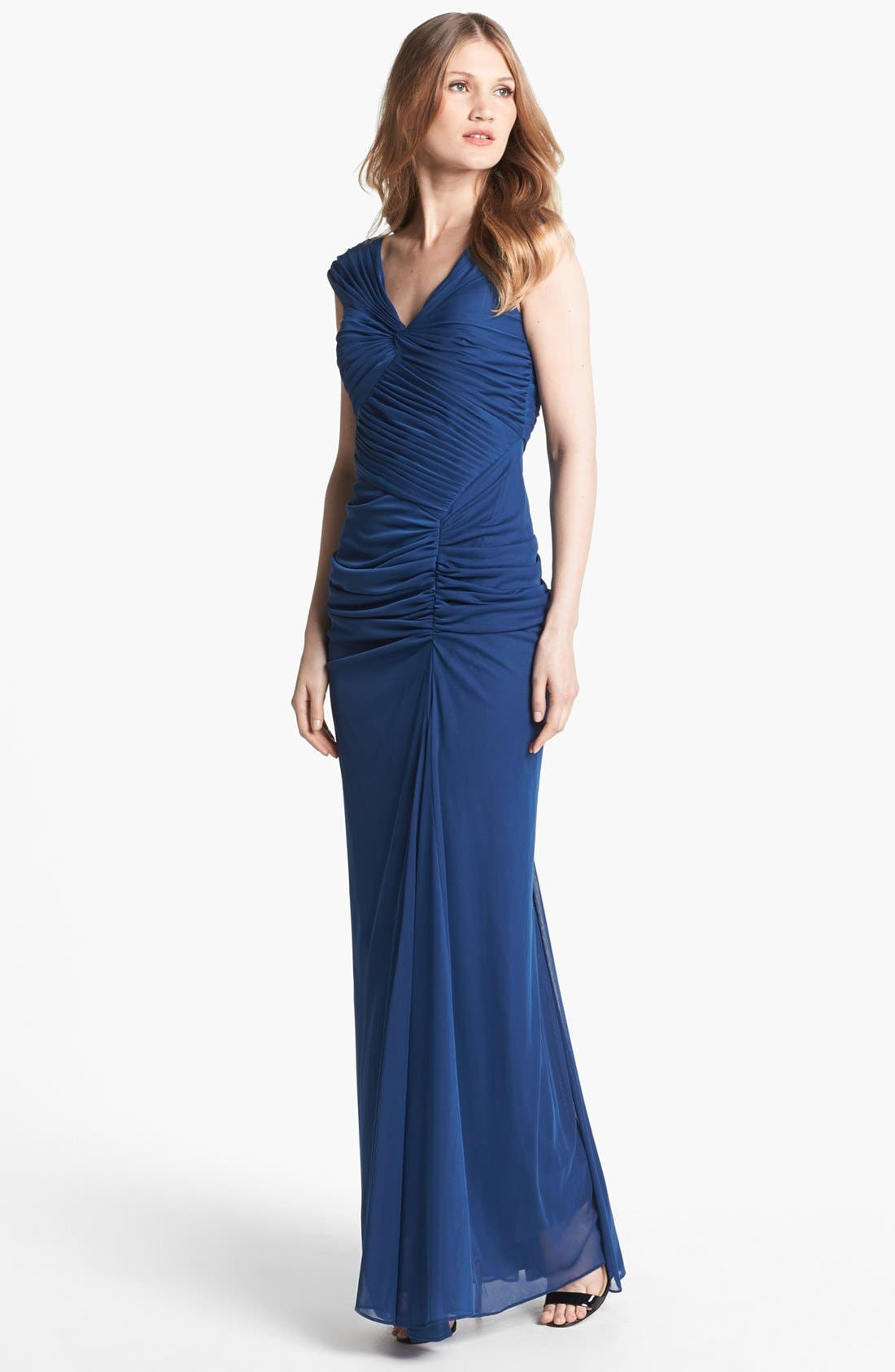 Alternate Image 1 Selected - Adrianna Papell Front Twist Ruched Mesh Gown (Regular & Petite)