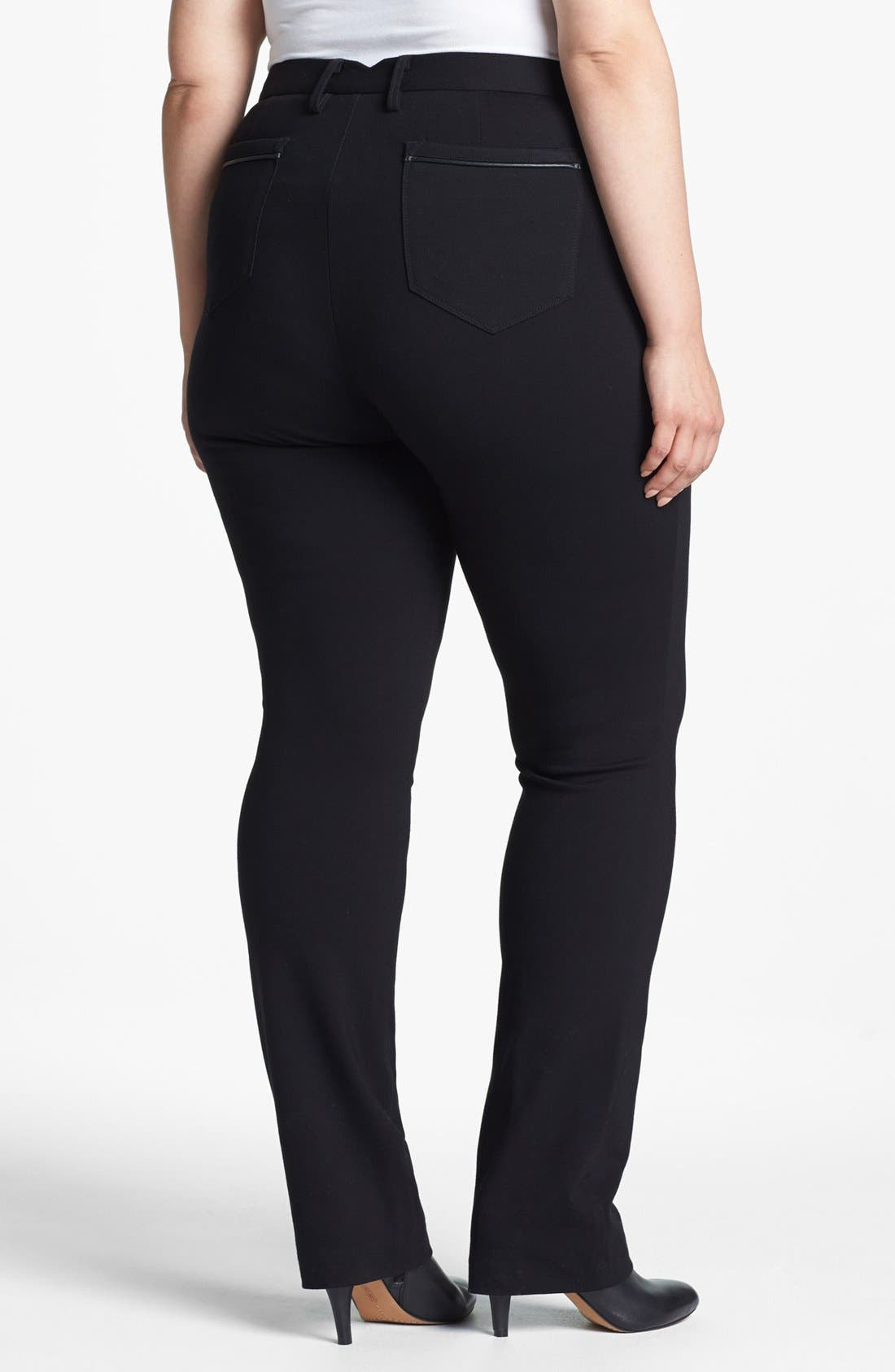 Alternate Image 2  - NYDJ Faux Leather Trim Stretch Ponte Pants (Plus Size)