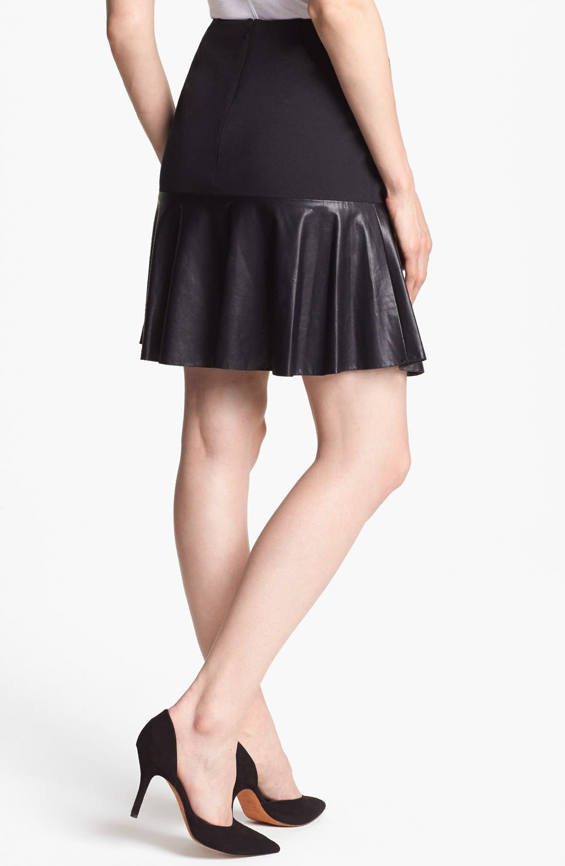 Alternate Image 3  - Halogen® Faux Leather & Ponte Flared Skirt