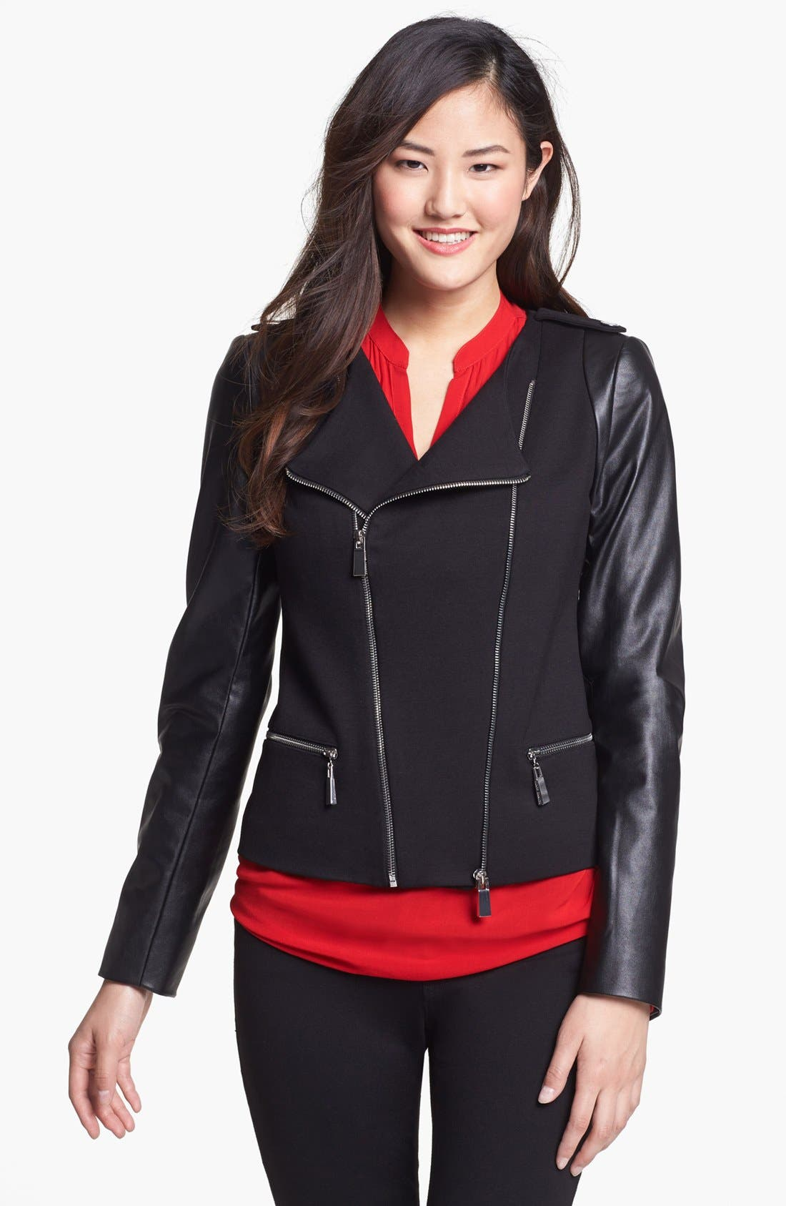 Alternate Image 6  - Vince Camuto Ponte & Faux Leather Moto Jacket (Nordstrom Exclusive)