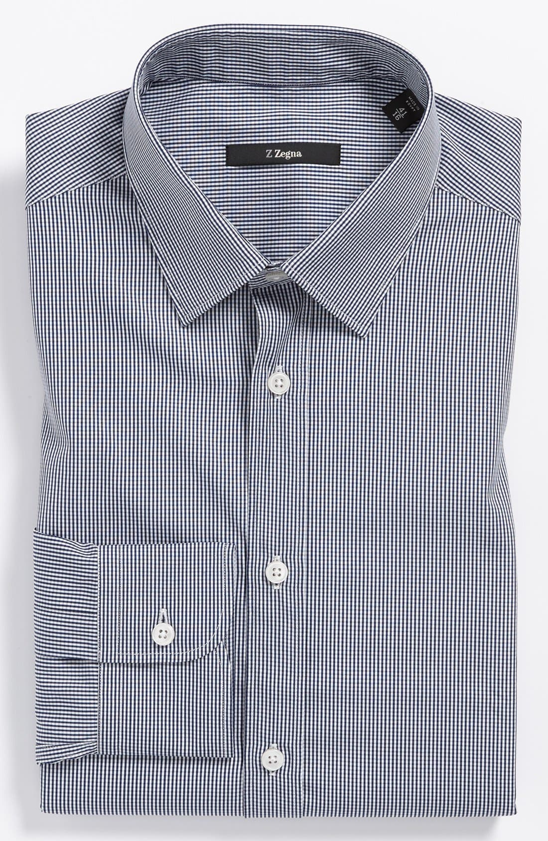 Alternate Image 1 Selected - Z Zegna Slim Fit Micro Check Dress Shirt