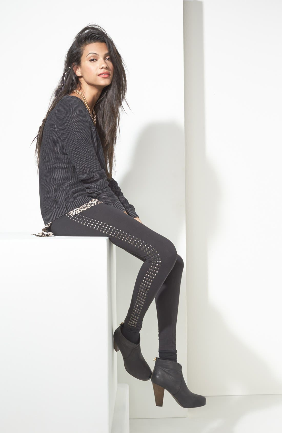 Alternate Image 4  - Rubbish® Square Studded Leggings (Juniors)