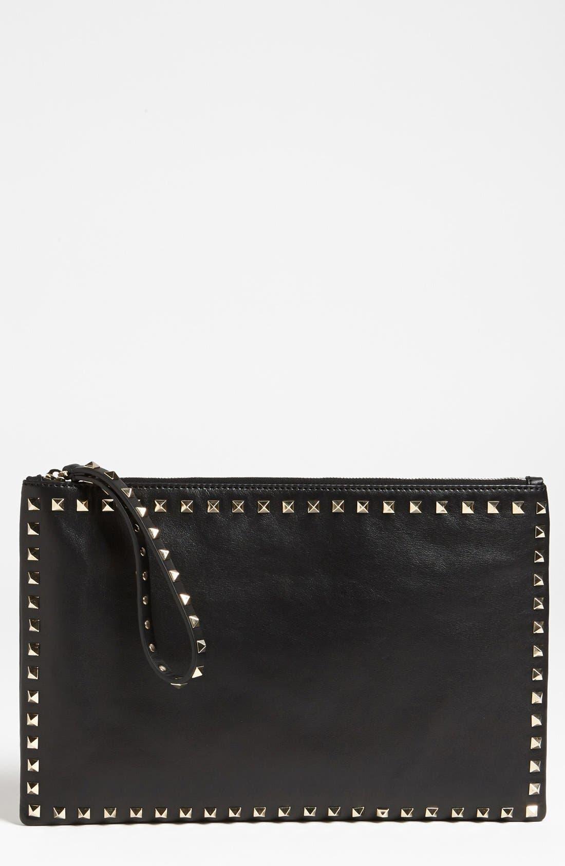 Main Image - Valentino 'Rockstud - Flat' Leather Clutch