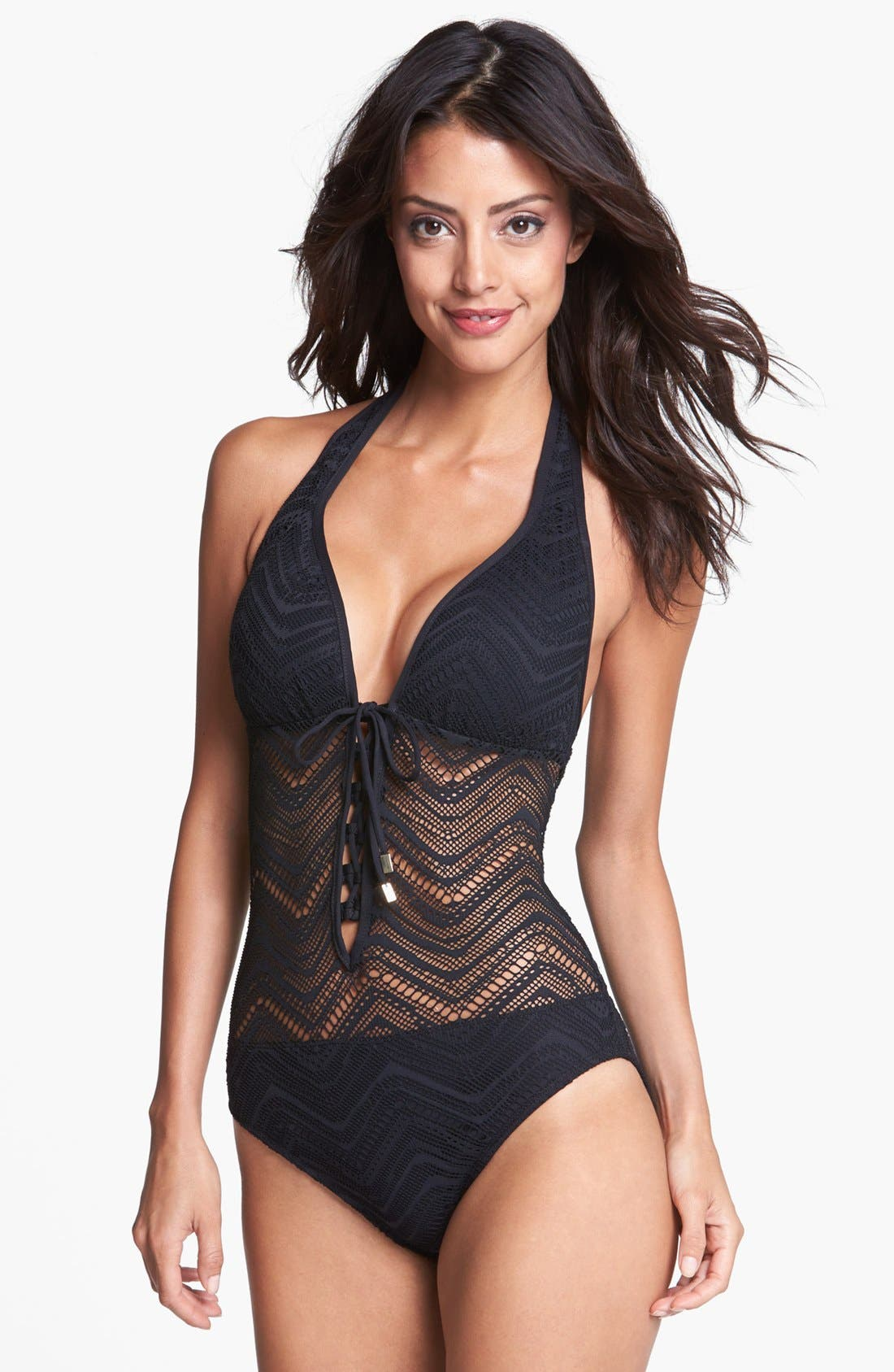 Alternate Image 1 Selected - BLEU Rod Beattie 'Peep Show' One-Piece Halter Swimsuit (Nordstrom Exclusive)