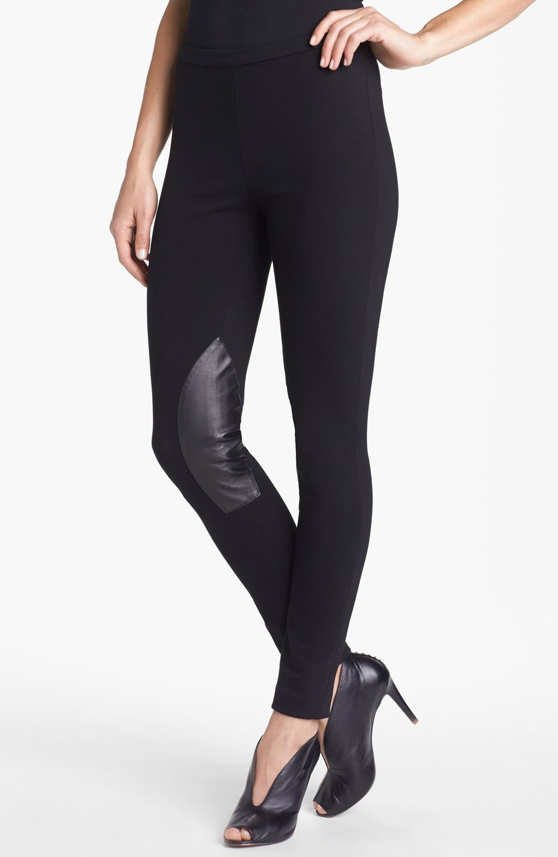 Alternate Image 1 Selected - Lafayette 148 New York Leather Trim Punto Milano Pants