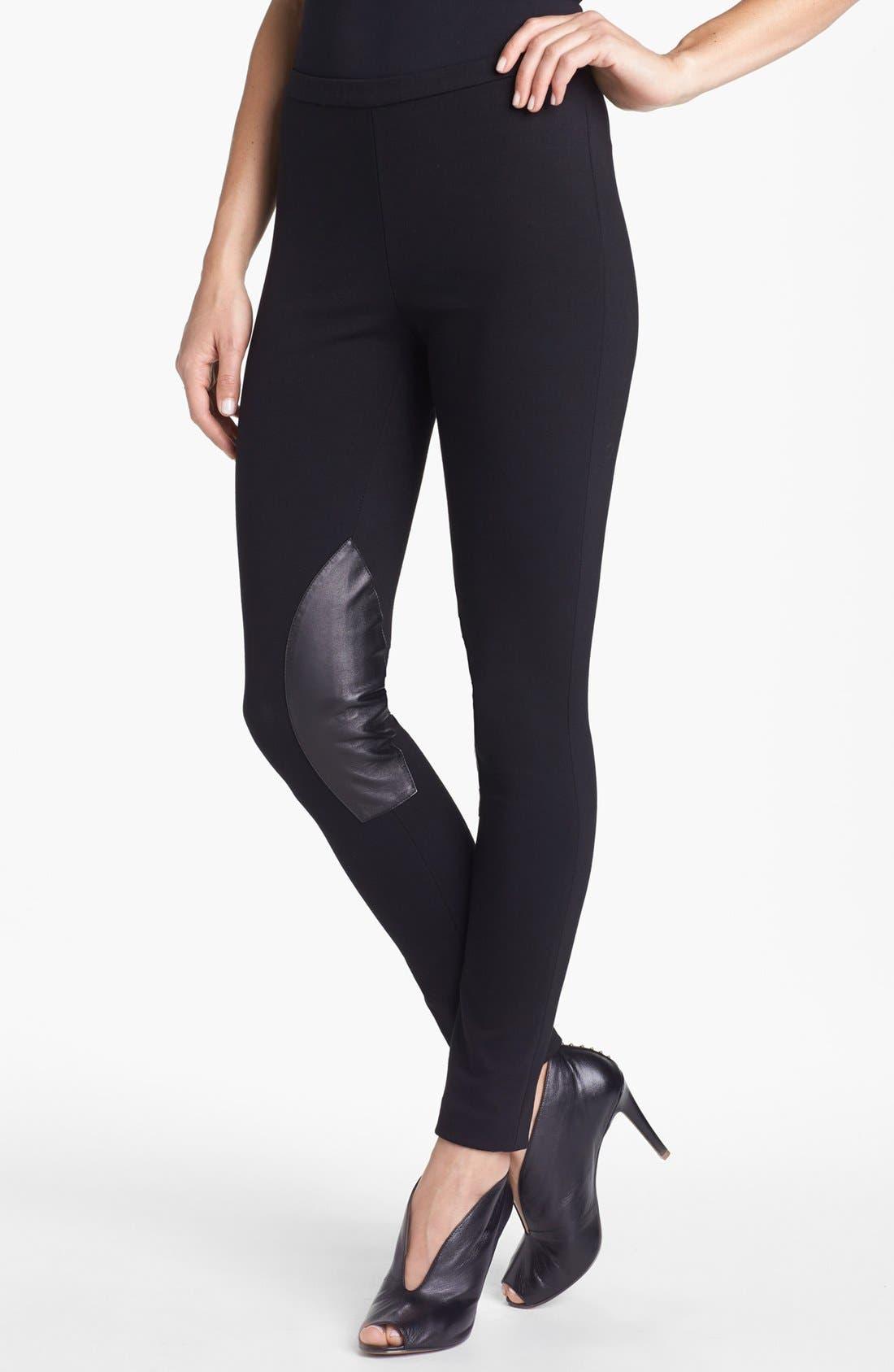 Main Image - Lafayette 148 New York Leather Trim Punto Milano Pants