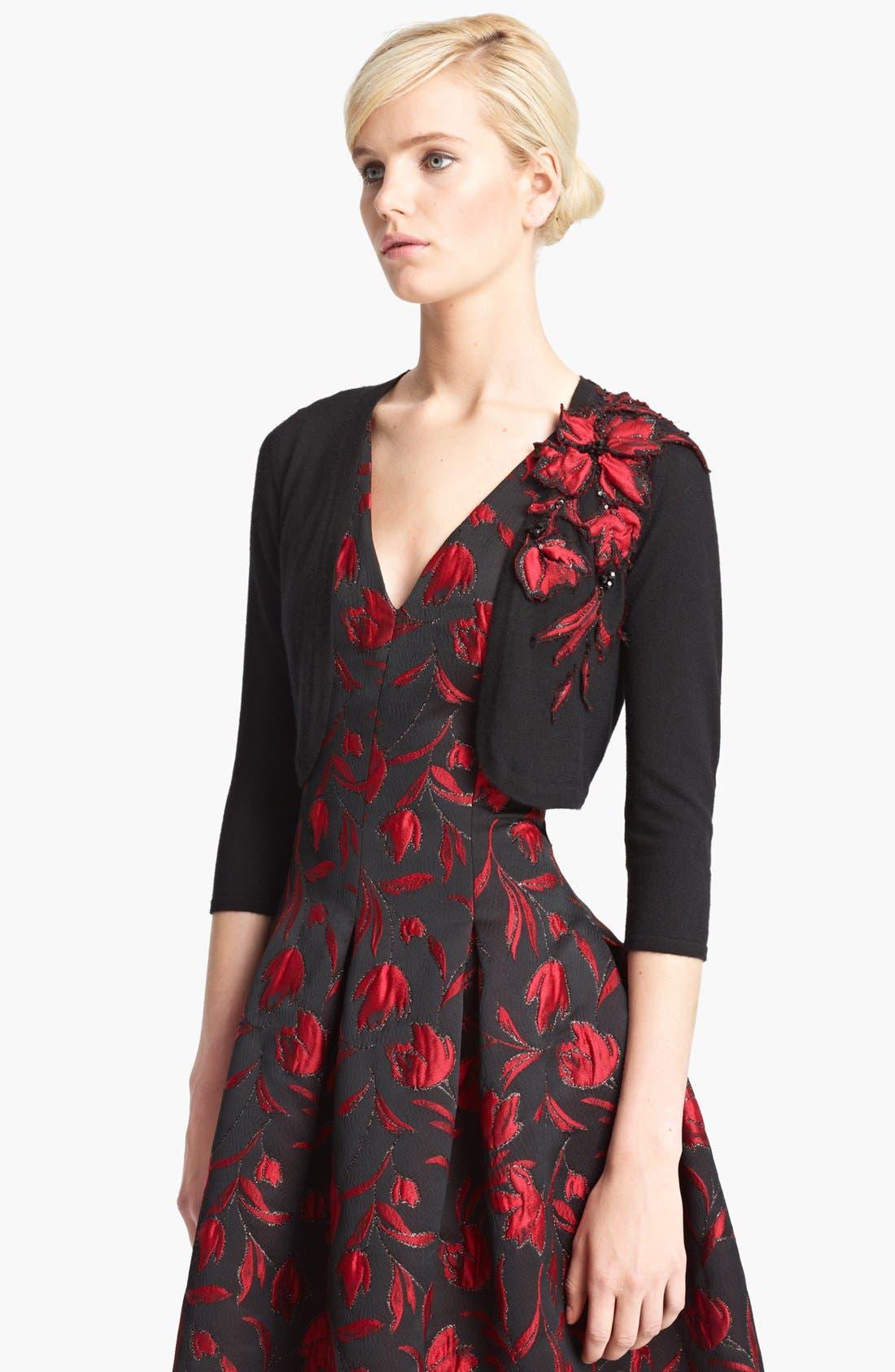 Alternate Image 1 Selected - Oscar de la Renta Floral Embroidered Bolero