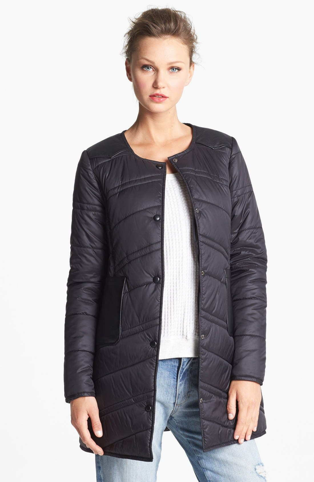 Main Image - French Connection Collarless Quilted Coat