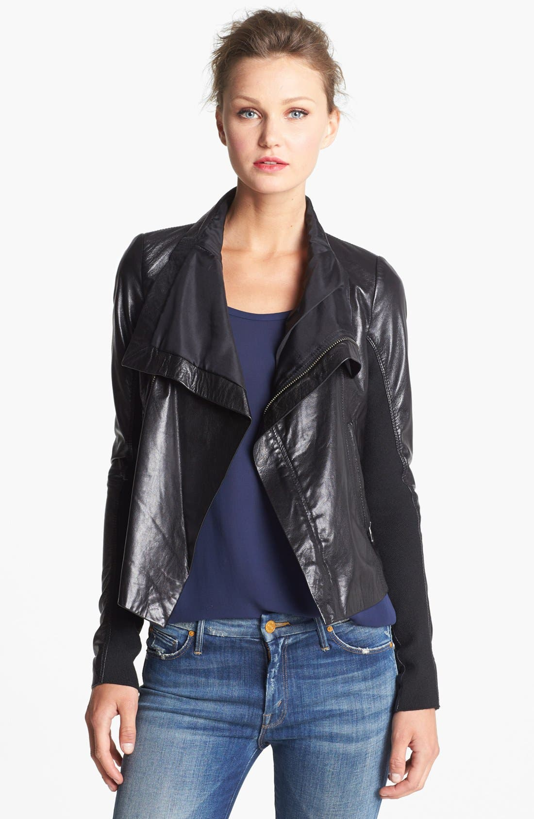 Alternate Image 1 Selected - June Drape Front Leather Jacket