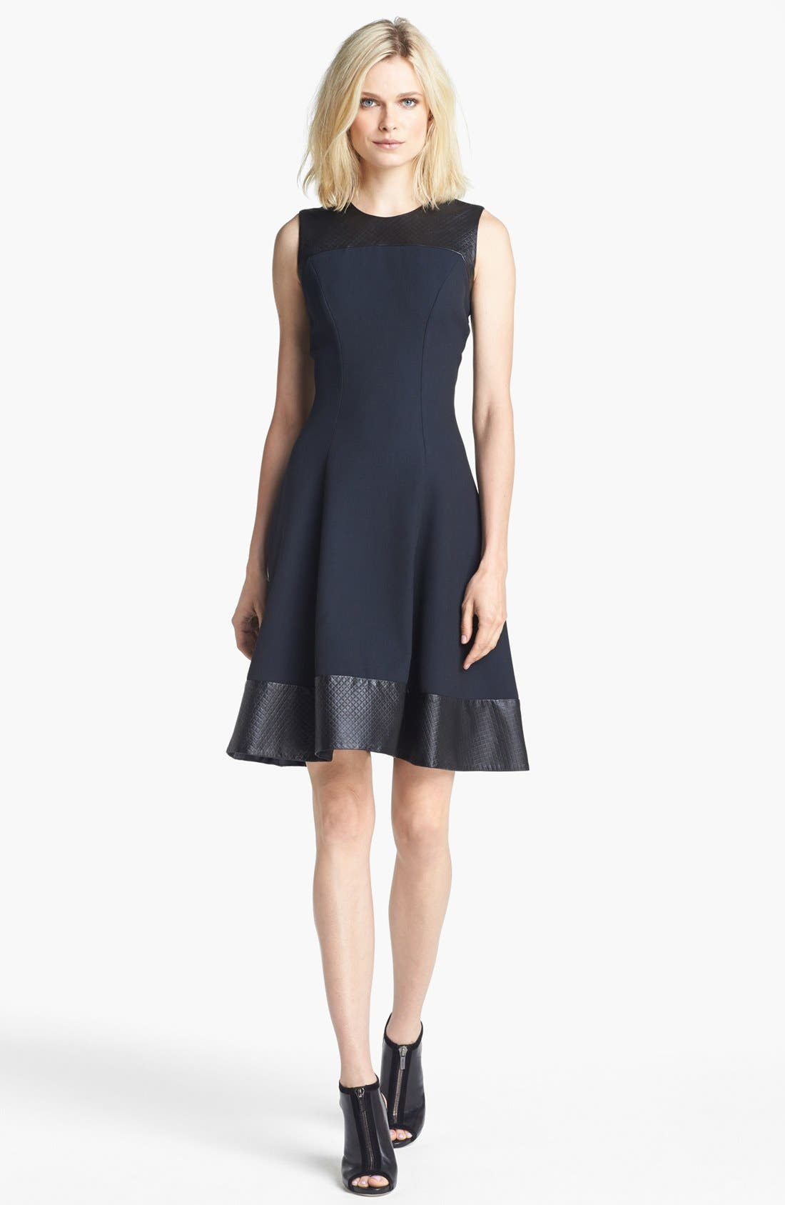 Main Image - L'AGENCE Embossed Leather Trim Ponte Knit Dress
