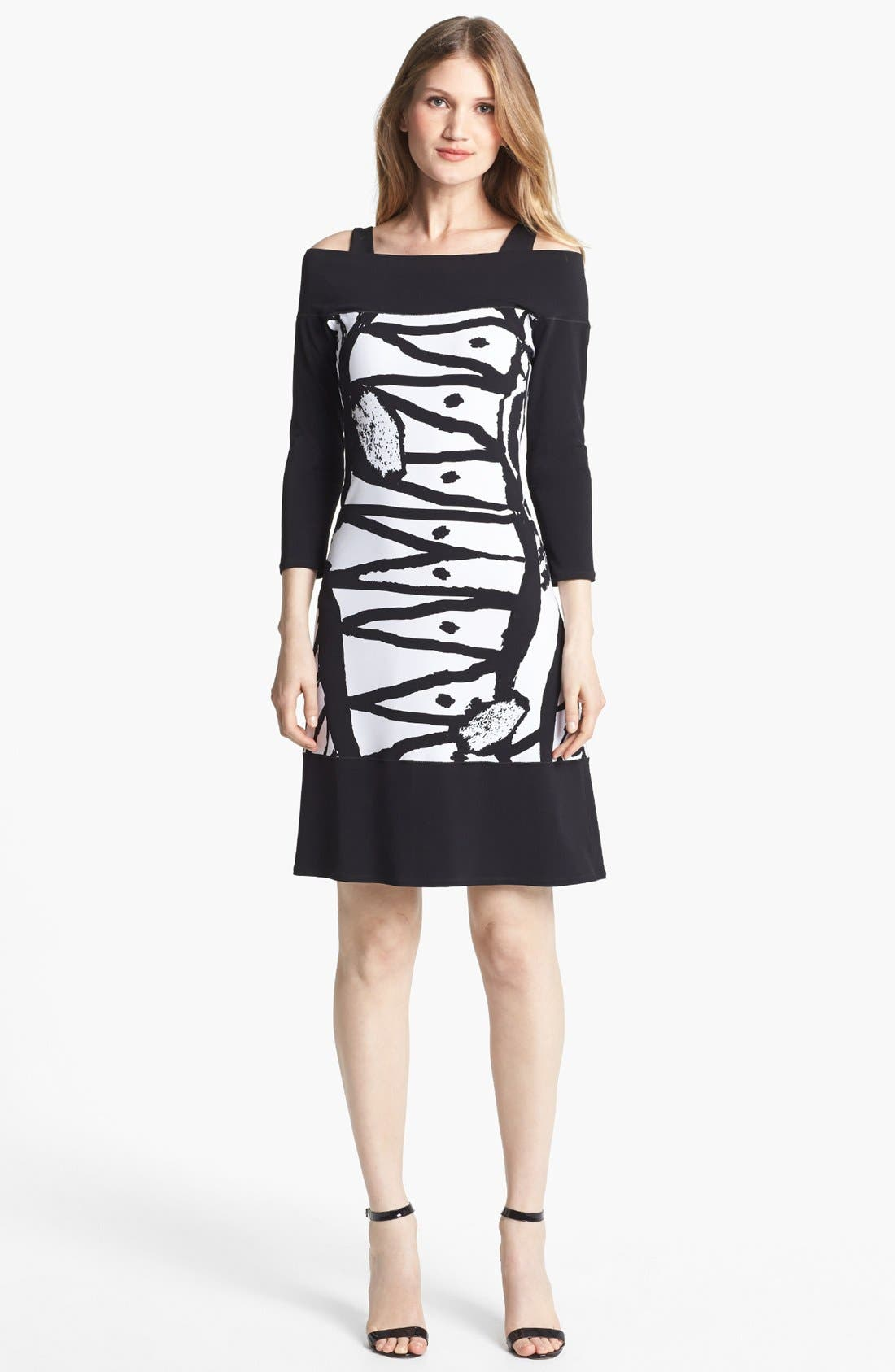 Alternate Image 1 Selected - Eva Varro Three Quarter Sleeve Print Knit Dress