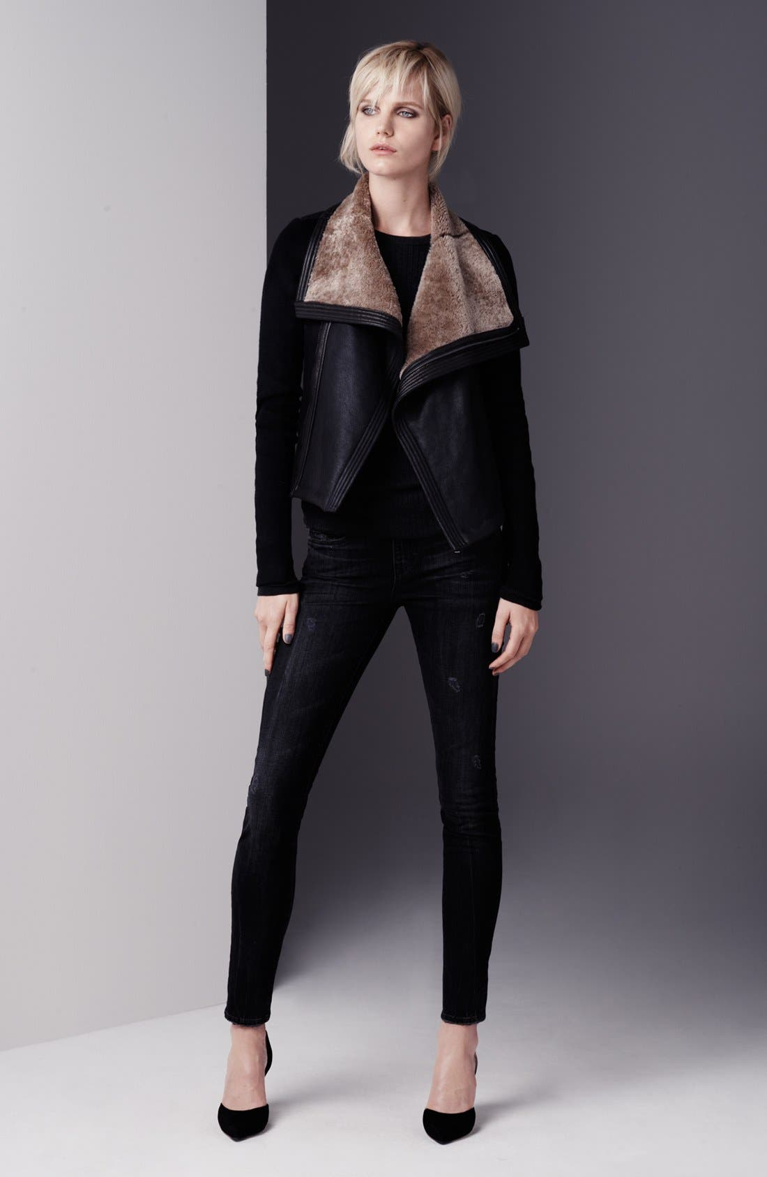 Main Image - Vince Leather & Genuine Shearling Moto Jacket, Sweater & Jeans