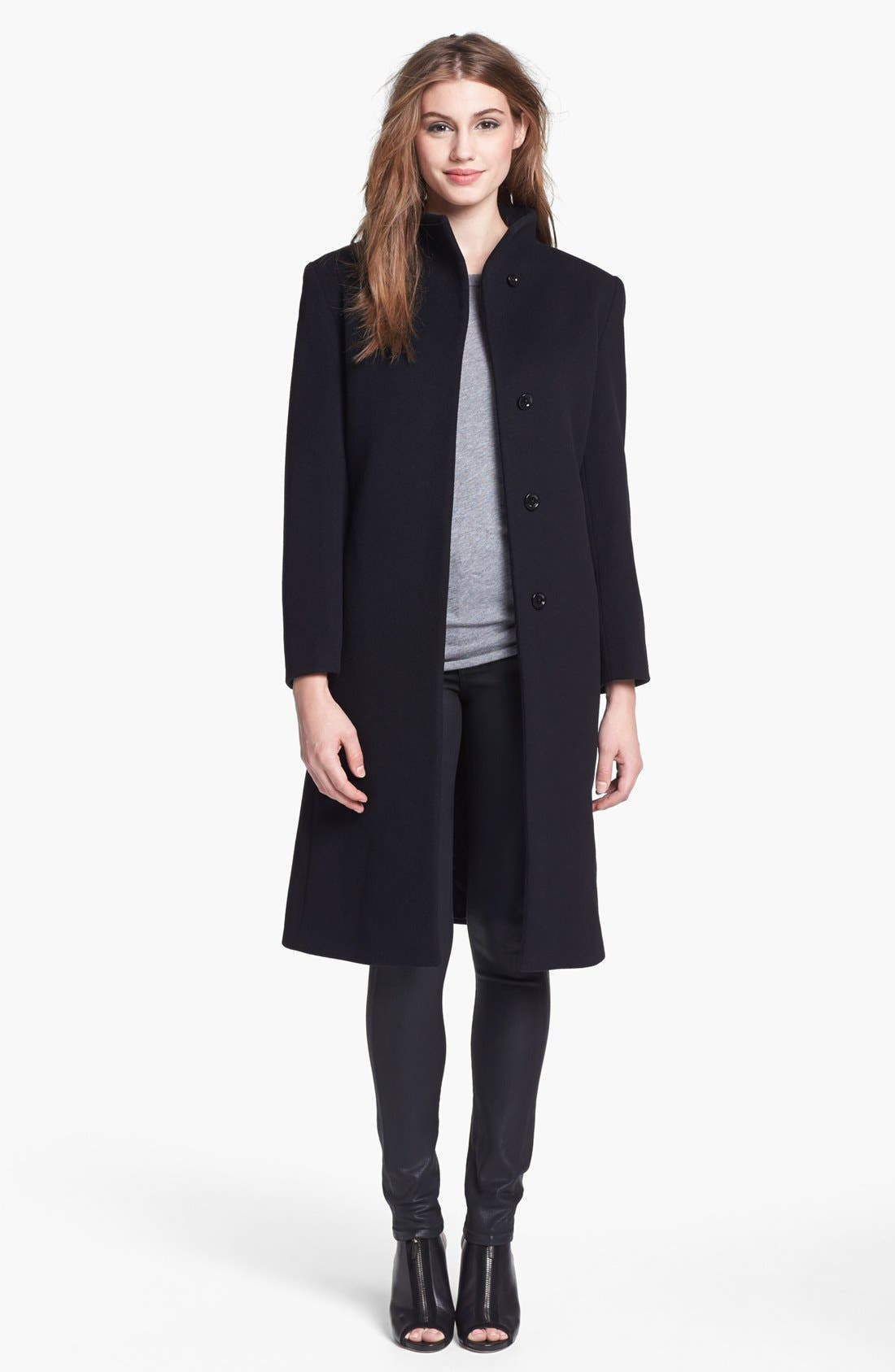 Alternate Image 1 Selected - Cinzia Rocca Due Funnel Neck Wool & Cashmere Blend Walking Coat (Petite)