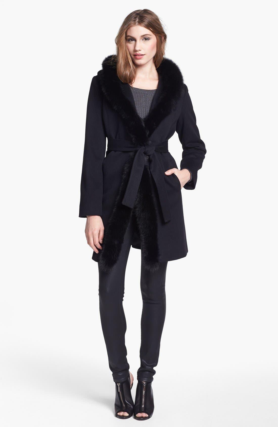 Alternate Image 1 Selected - Fleurette Genuine Fox Fur Trim Hooded Wrap Coat
