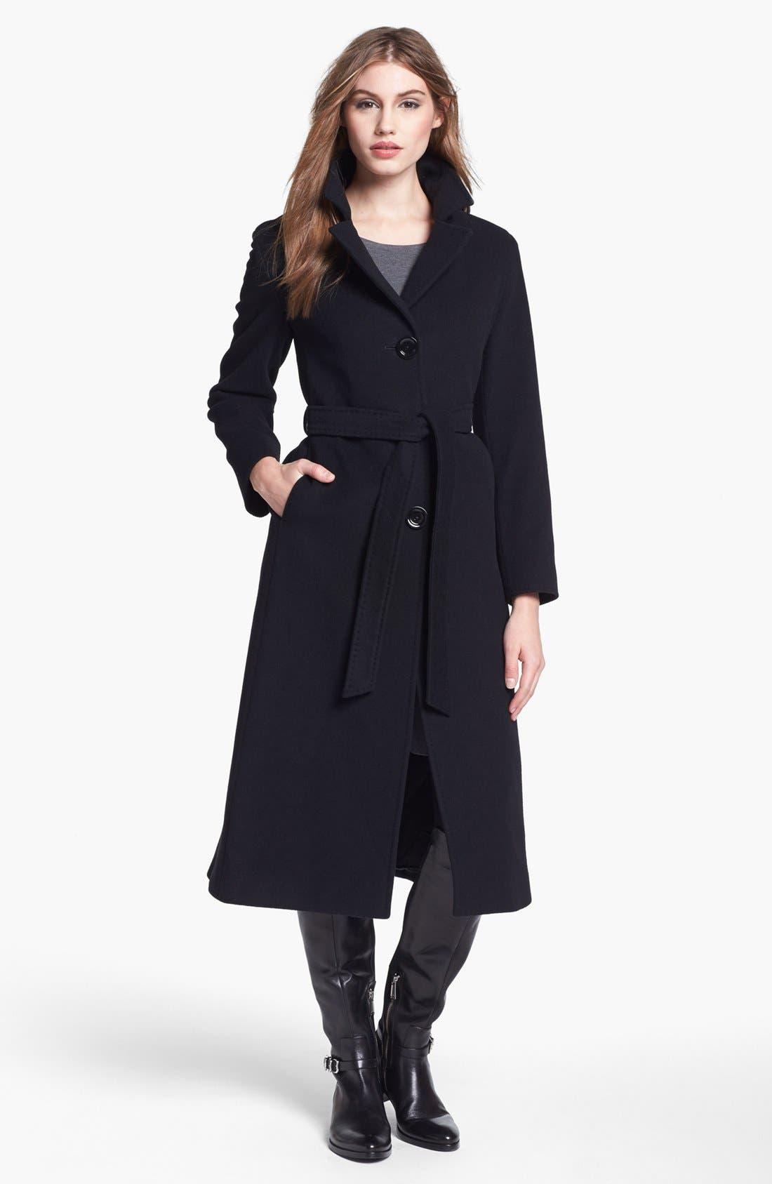 Main Image - Cinzia Rocca Due Belted Long Wool Blend Coat (Petite)