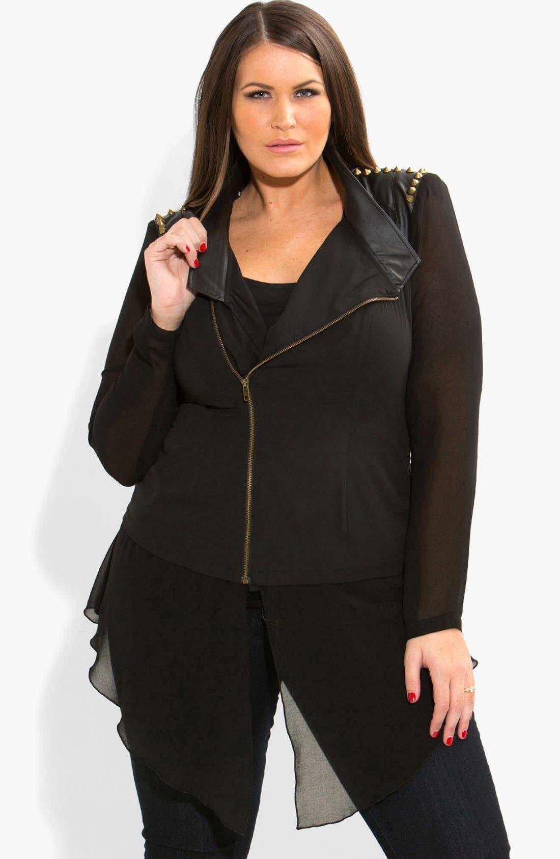 Alternate Image 1 Selected - City Chic Studded Mixed Media Moto Jacket (Plus Size)