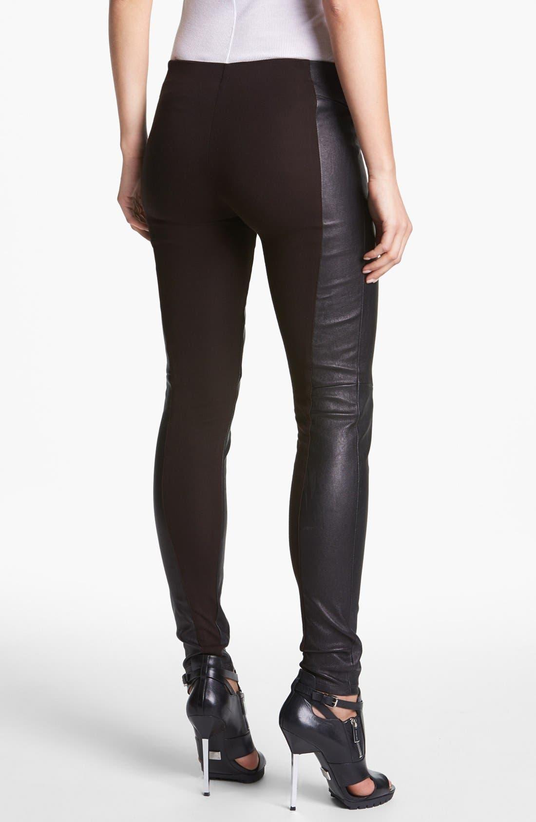 Alternate Image 2  - Theory 'Miana' Leather & Knit Skinny Pants