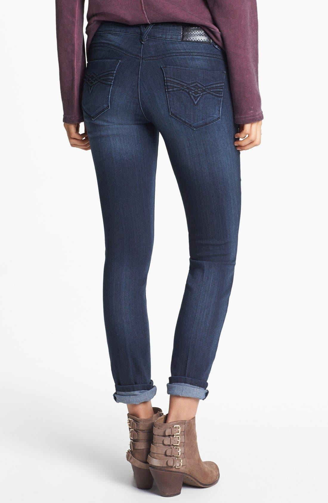 Main Image - Jolt 'Aircord' Embroidered Pocket Skinny Jeans (Dark) (Juniors)