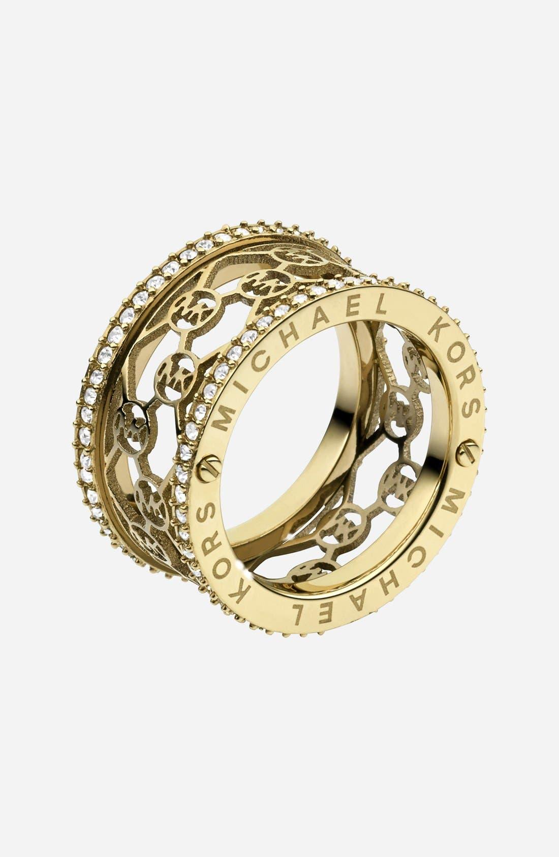 Alternate Image 1 Selected - Michael Kors 'Monogram' Logo Cigar Band Ring