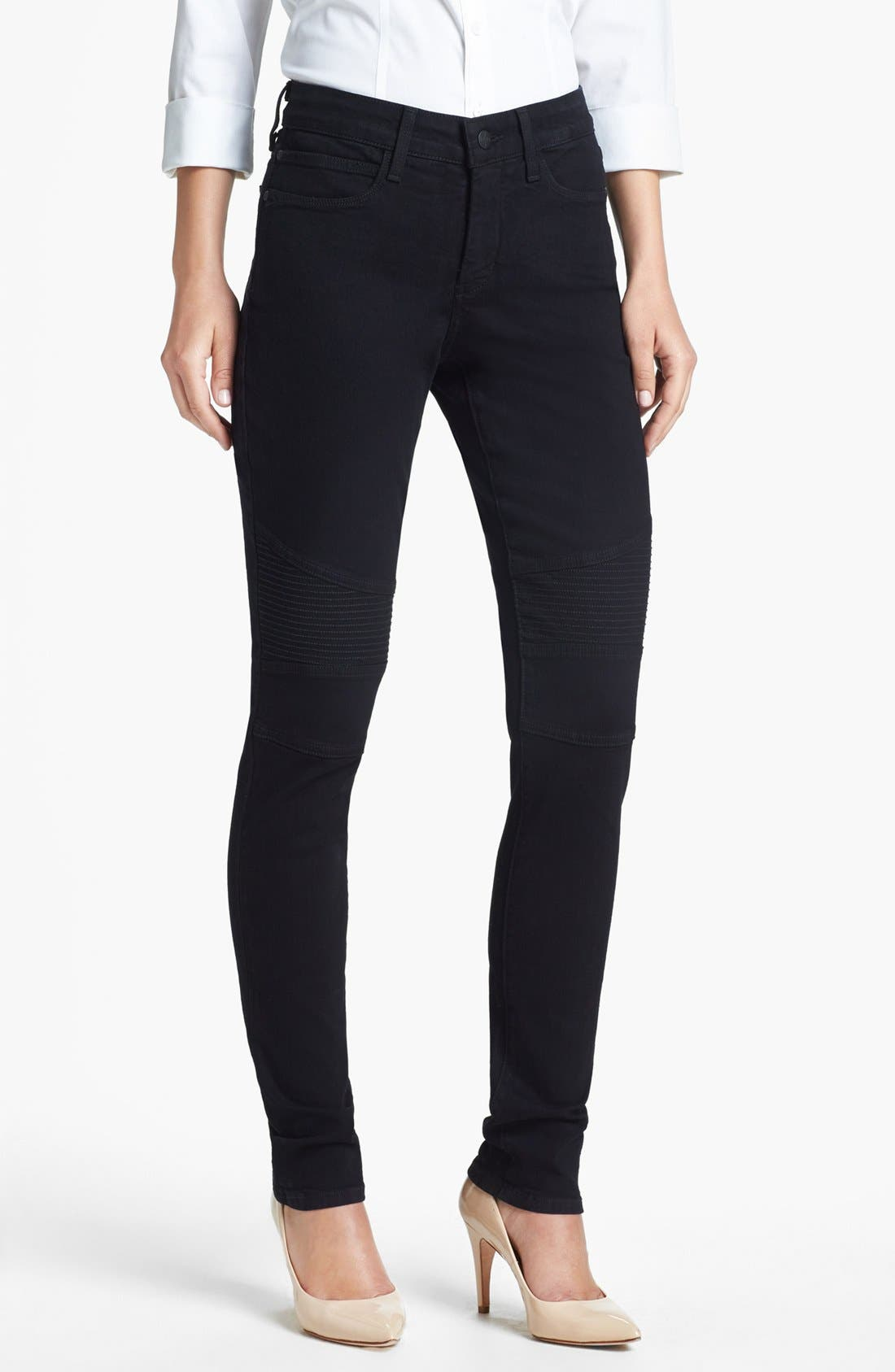 Alternate Image 1 Selected - NYDJ Gabriella' Stretch Moto Skinny Jeans (Black)