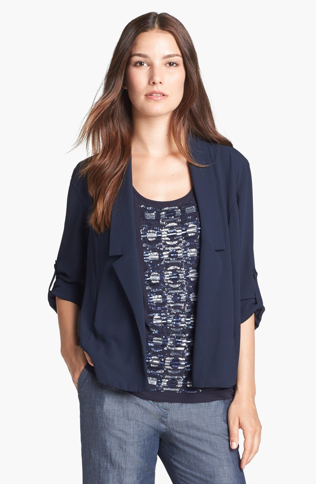 Alternate Image 1 Selected - Adrianna Papell Roll Sleeve Soft Washed Crepe Jacket