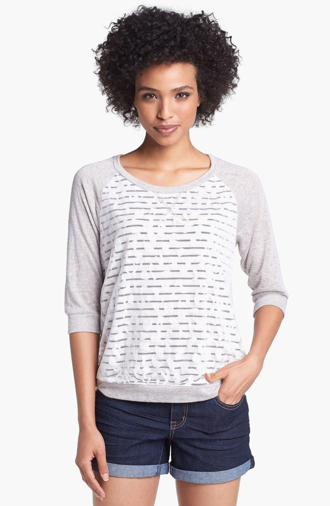 Alternate Image 1 Selected - Olivia Moon Lace Overlay Stripe Sweatshirt