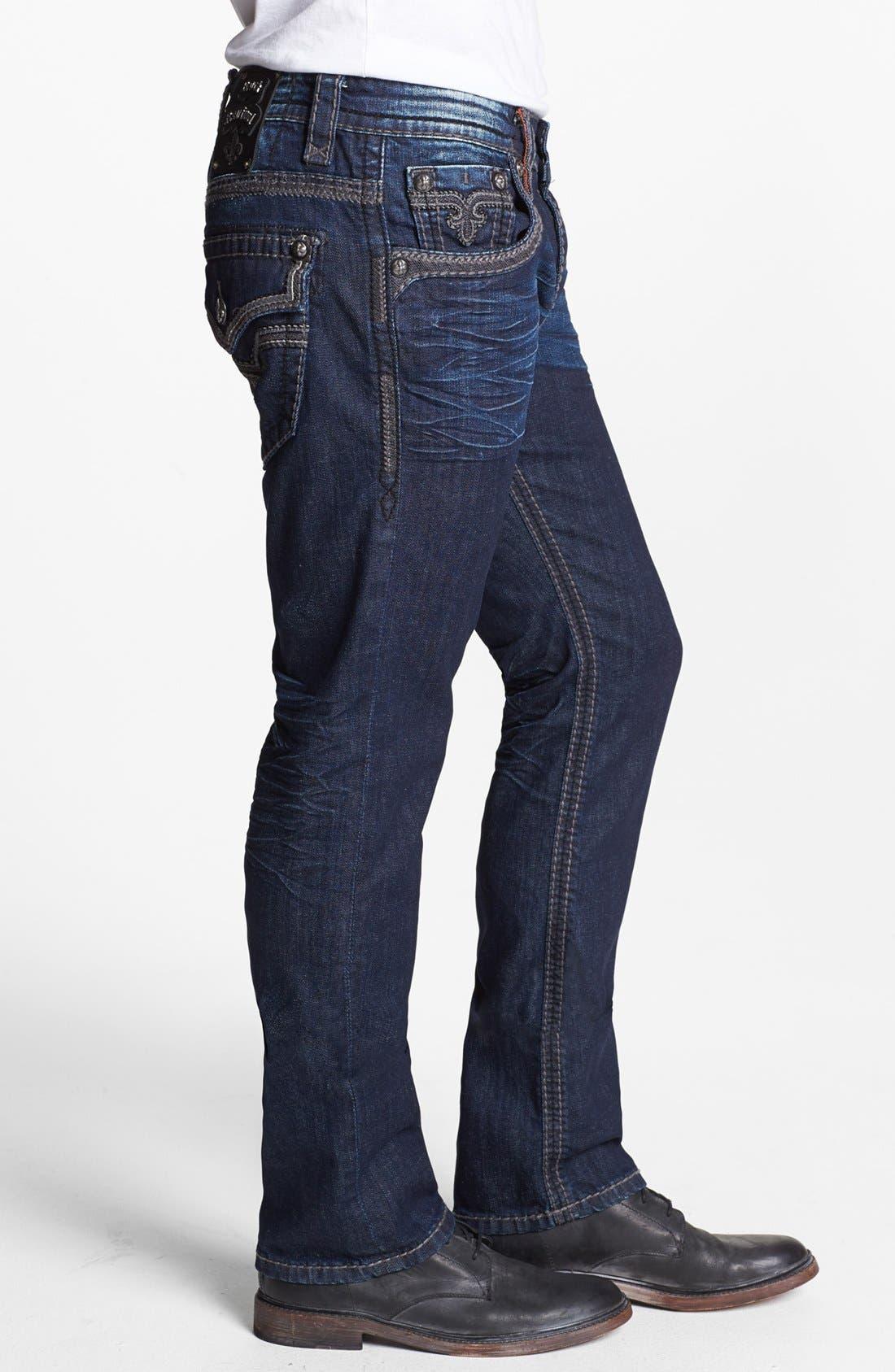 Alternate Image 3  - Rock Revival 'Ben' Alternative Straight Leg Jeans (Dark Blue )