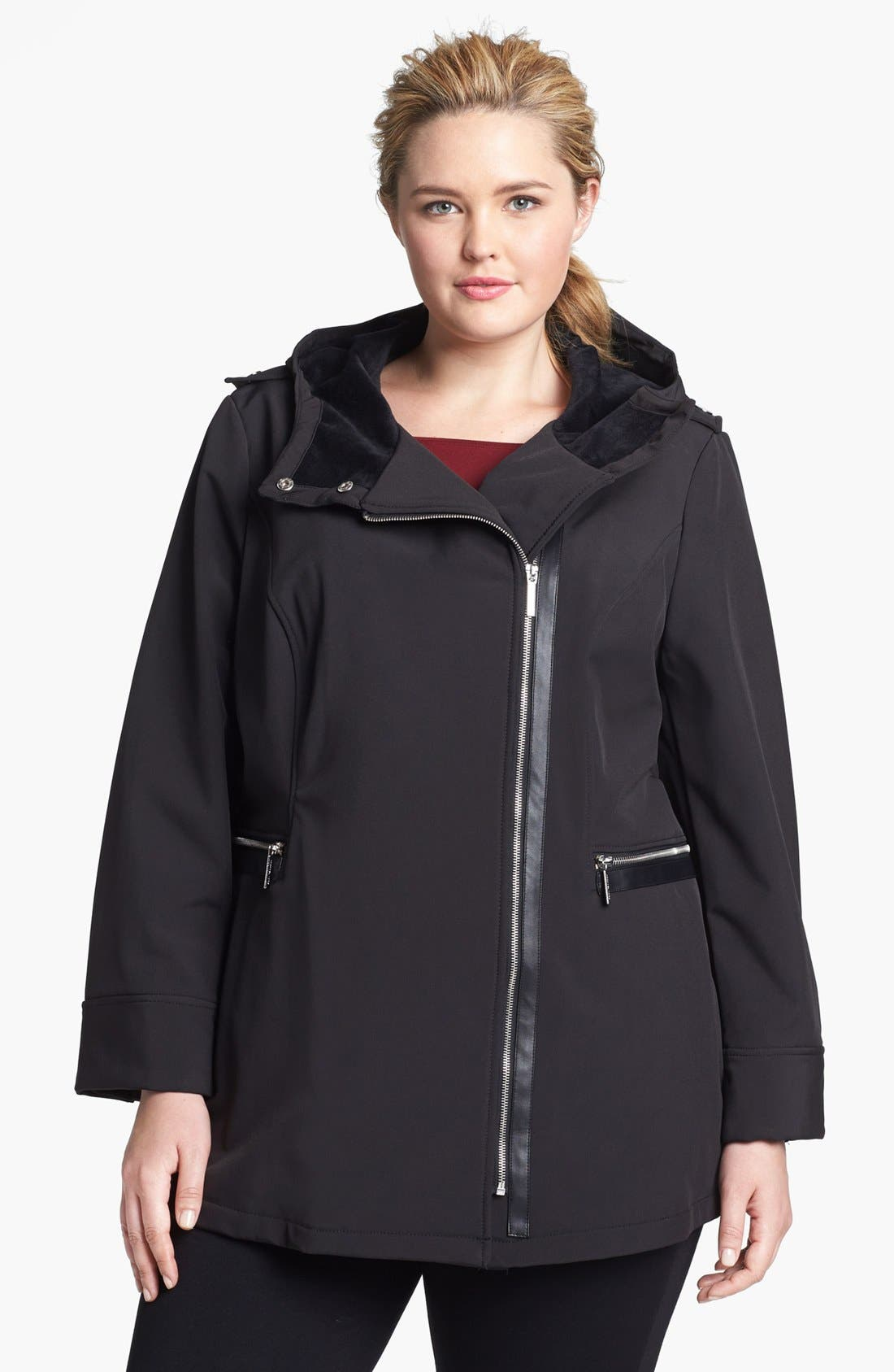 Alternate Image 1 Selected - MICHAEL Michael Kors Hooded Faux Leather Trim Soft Shell Jacket (Plus Size)