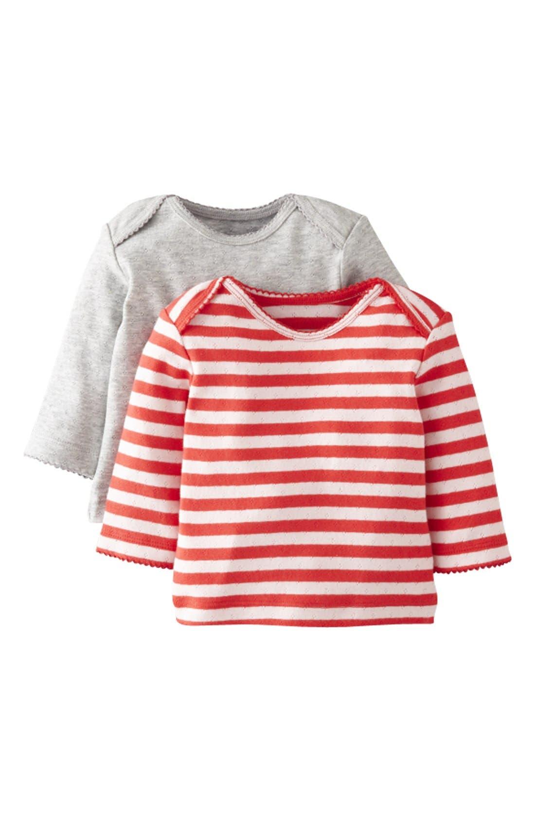 Main Image - Mini Boden Pointelle Tee (2-Pack) (Baby Girls)