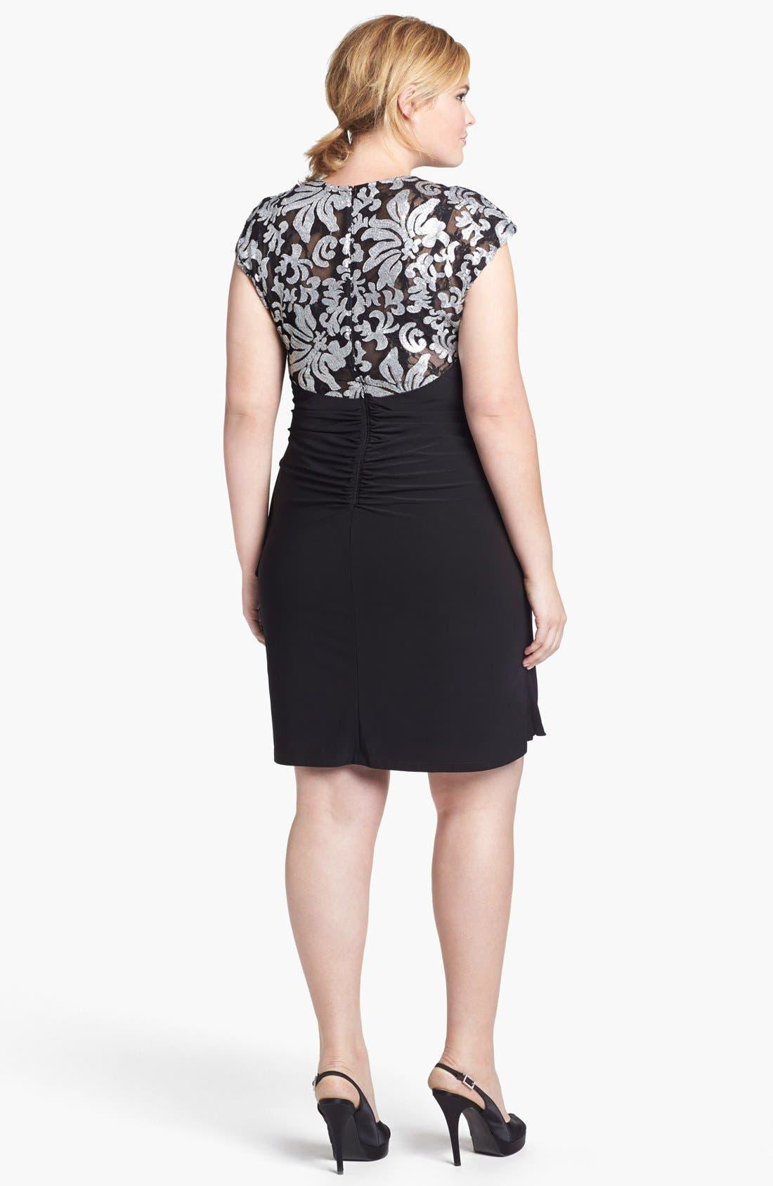 Alternate Image 2  - Xscape Embellished Yoke Ruched Sheath Dress (Plus Size)