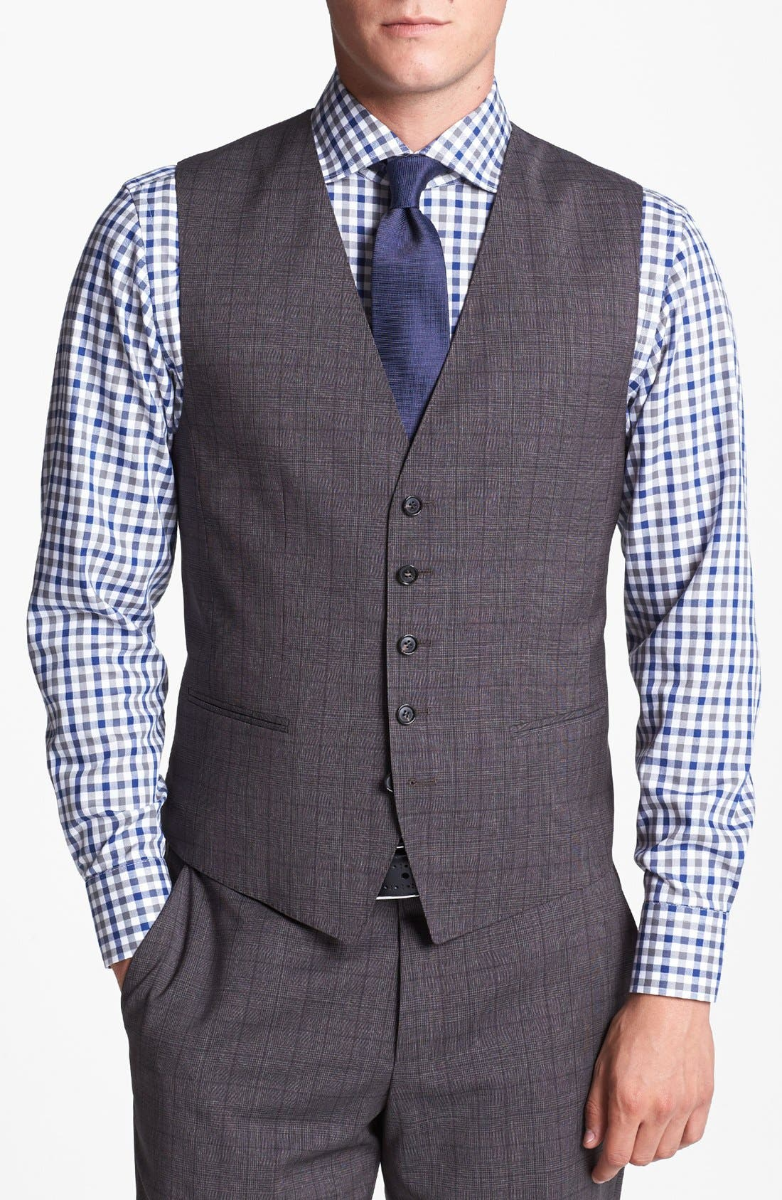 Alternate Image 6  - BOSS HUGO BOSS 'James/Sharp' Trim Fit Three Piece Plaid Suit
