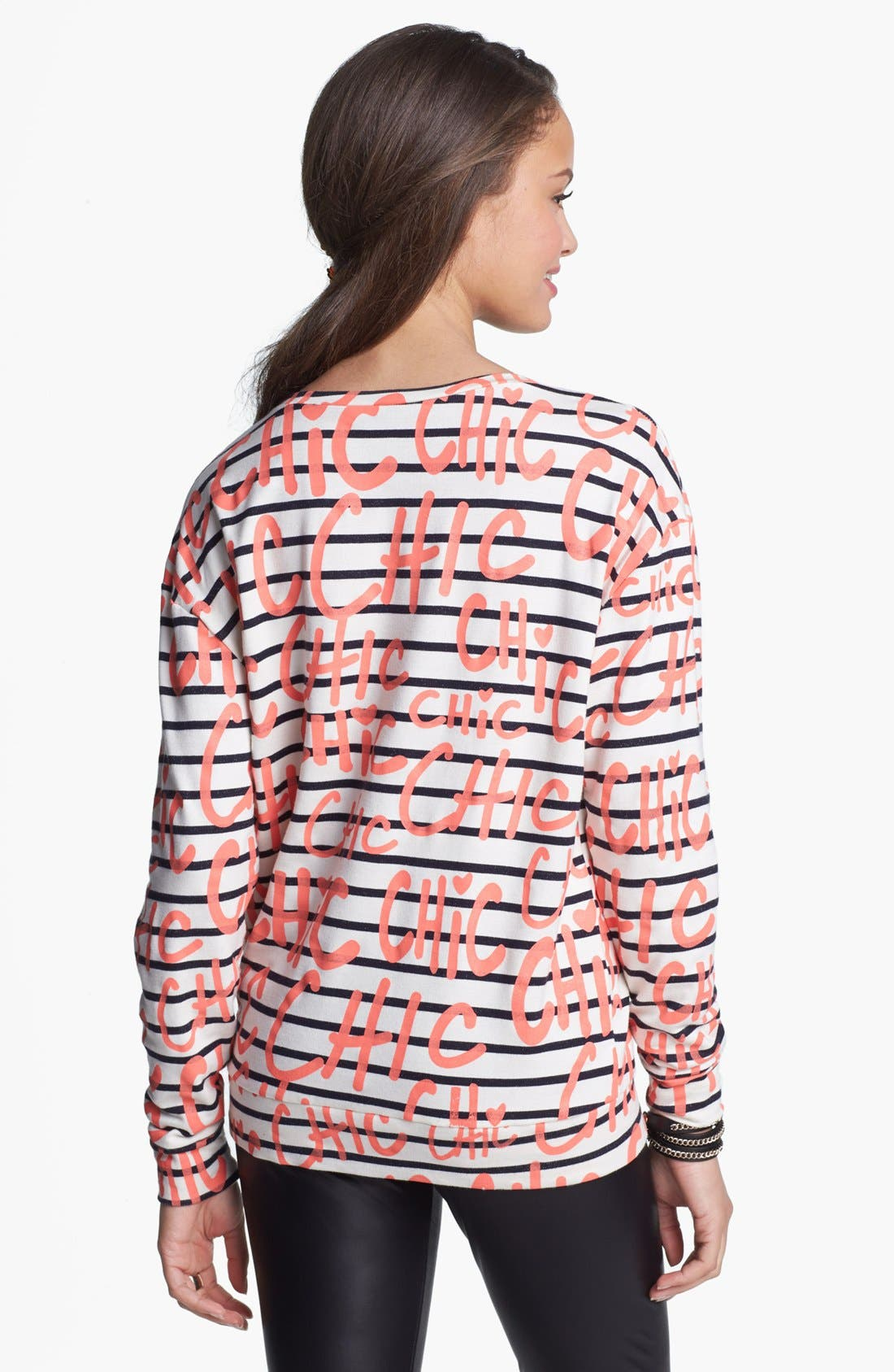 Alternate Image 2  - Ten Sixty Sherman 'Chic' Stripe Sweatshirt (Juniors)
