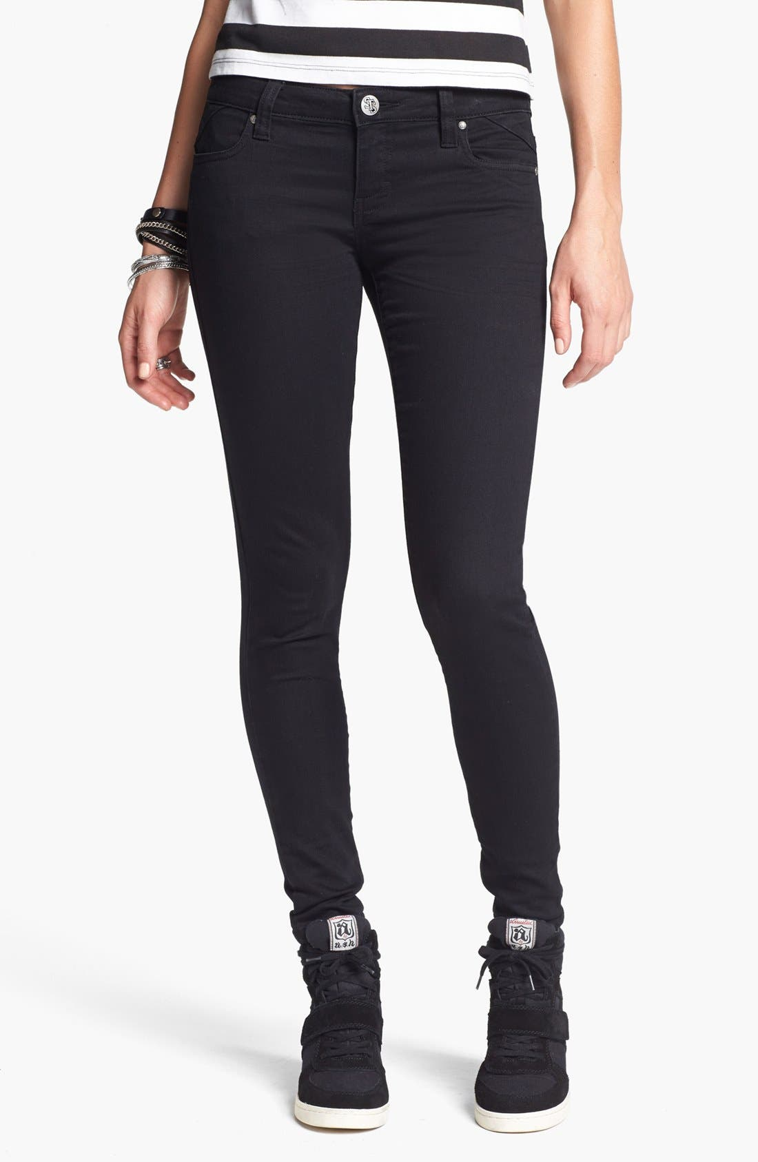 Alternate Image 1 Selected - STS Blue Skinny Jeans (Black) (Juniors)