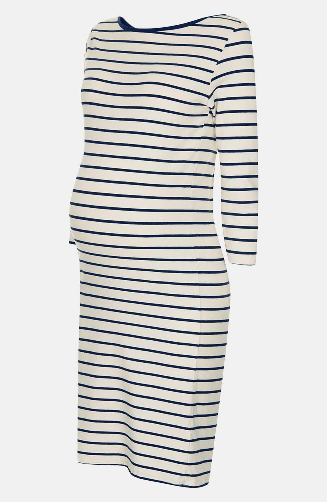 Alternate Image 3  - Topshop Breton Stripe Body-Con Maternity Dress