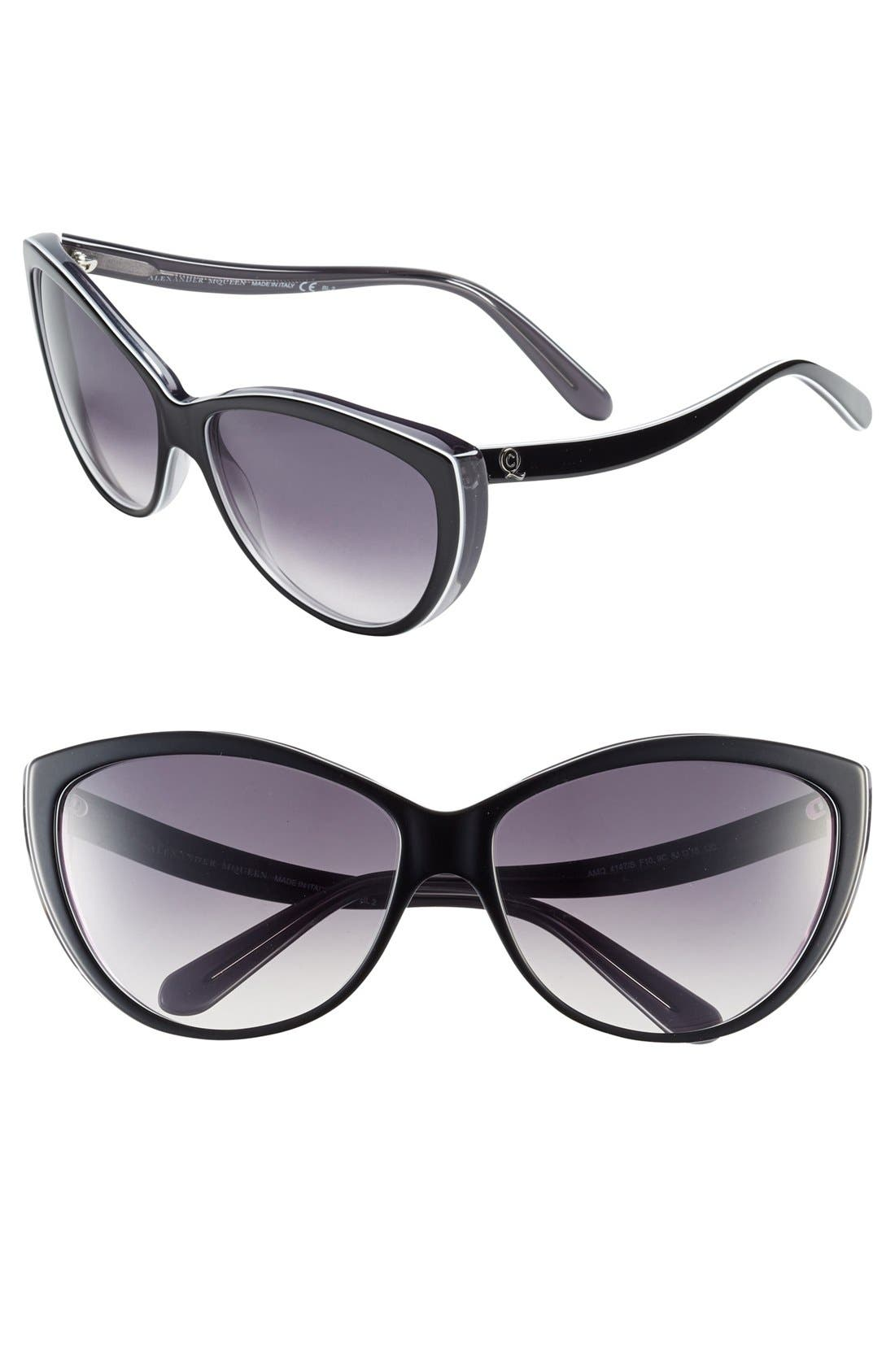 Alternate Image 1 Selected - Alexander McQueen 61mm Two-Tone Cat Eye Sunglasses