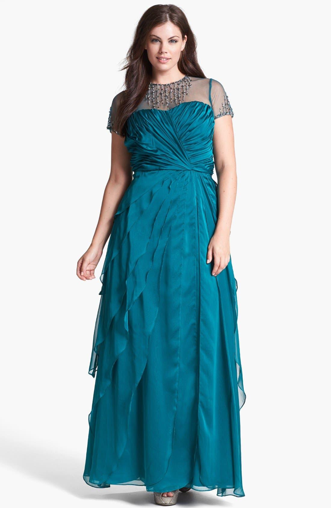 Alternate Image 1 Selected - Adrianna Papell Embellished Yoke Ruffled Charmeuse Gown (Plus Size)