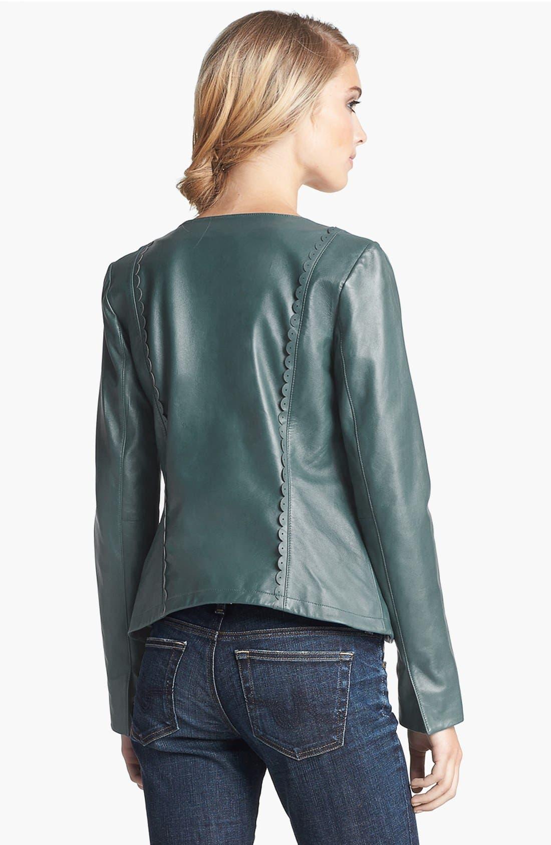 Alternate Image 2  - Hinge® Scallop Trim Leather Jacket