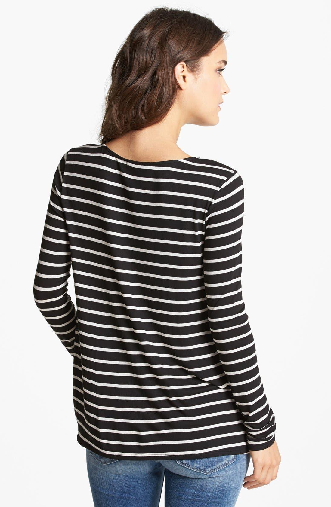Alternate Image 2  - Ella Moss Studded Neck Stripe Top