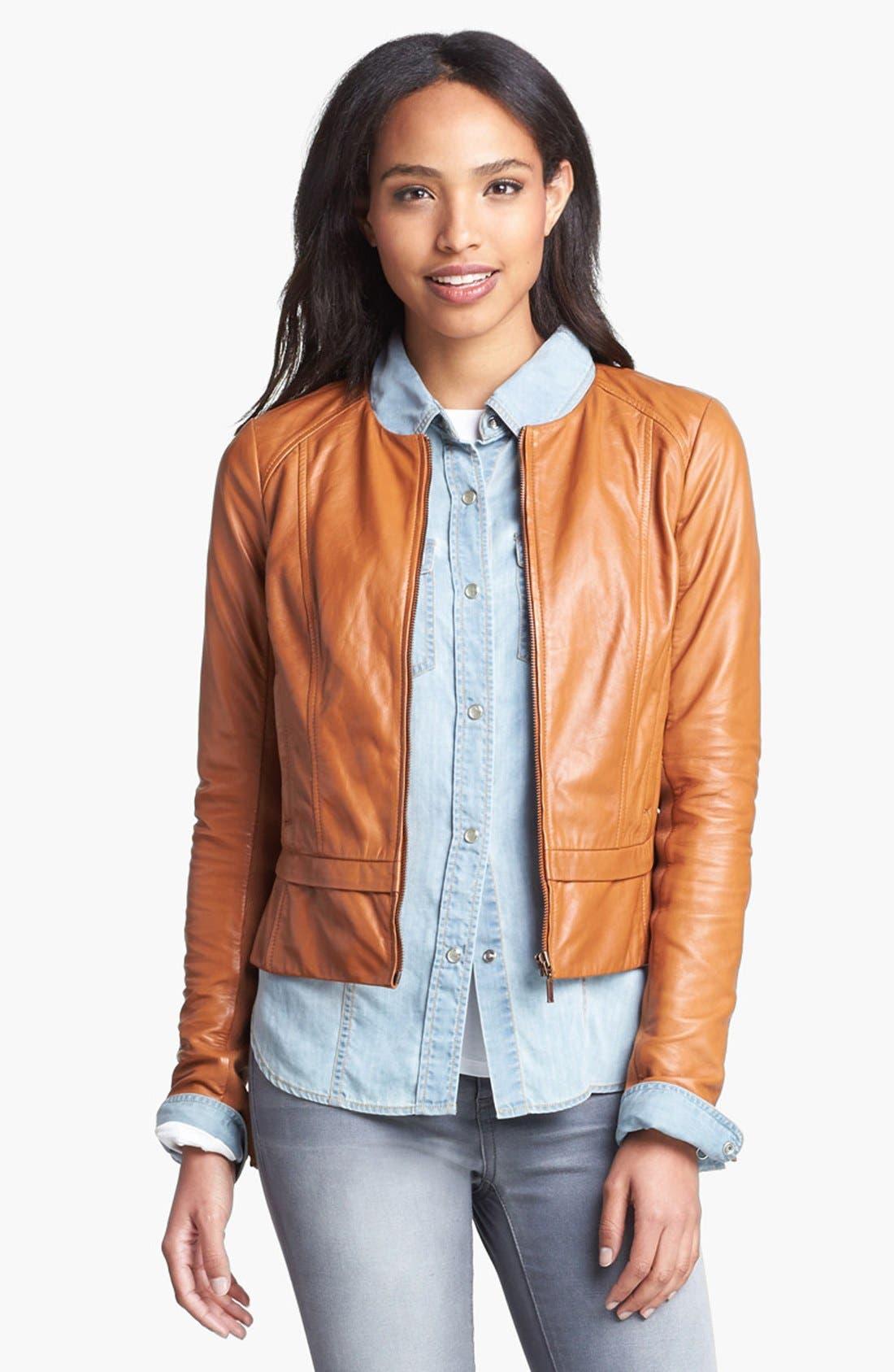 Alternate Image 1 Selected - Halogen® Seamed Leather Jacket