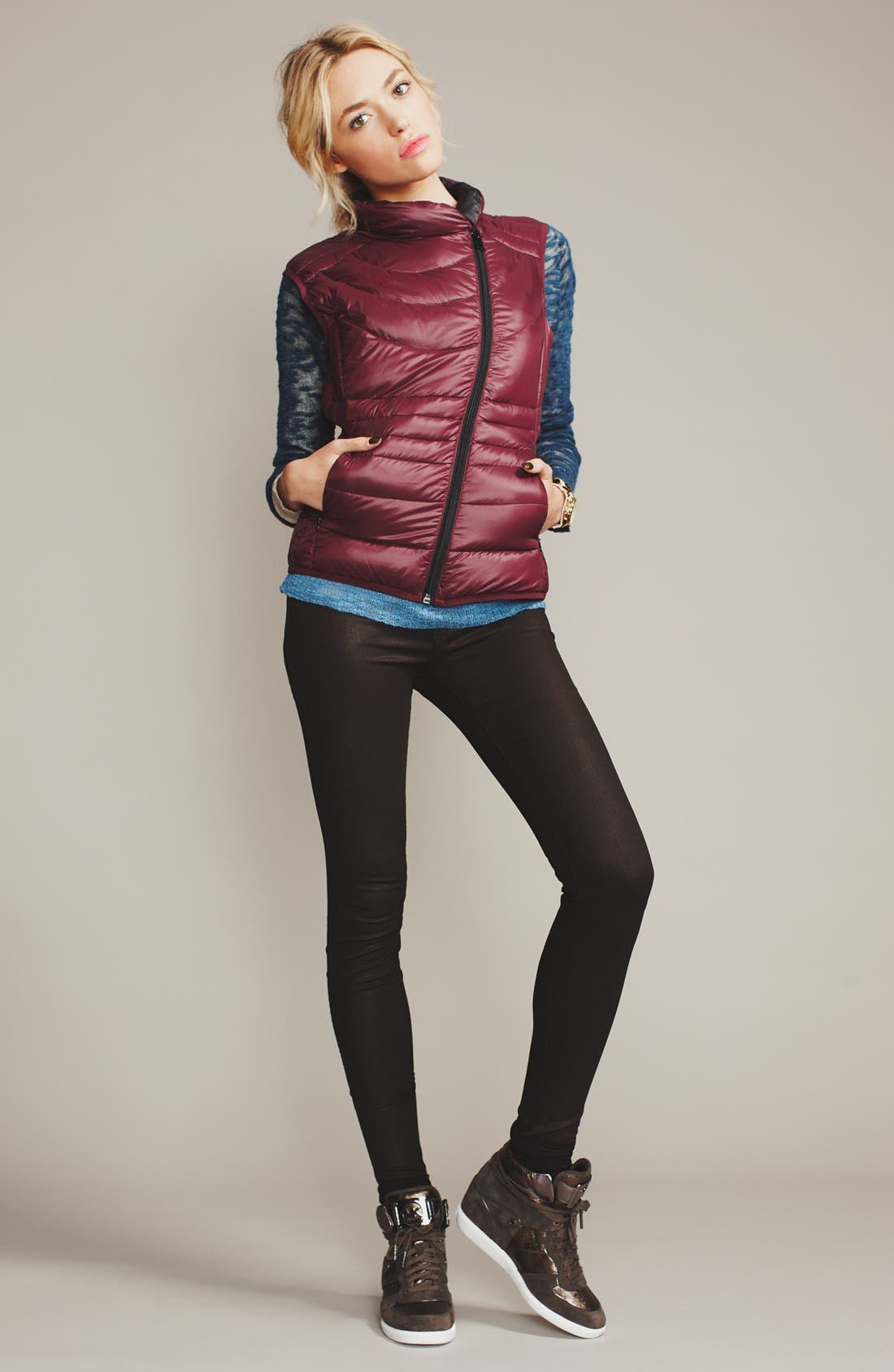 Alternate Image 1 Selected - Bernardo Down Vest, Kensie Sweaters & J Brand Skinny Jeans