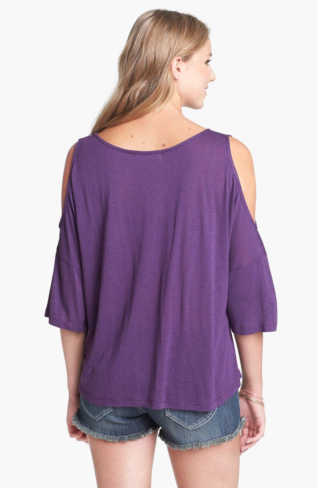 Alternate Image 2  - Painted Threads Cold Shoulder Top (Juniors)