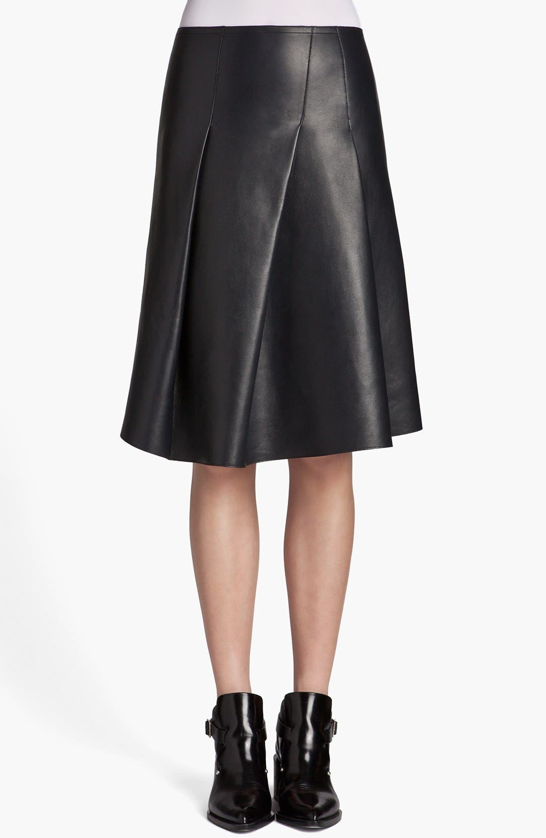 Main Image - Jil Sander 'Pom Pom' Pleated Leather Skirt